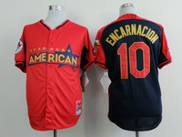 Free Ship Mens  Toronto Blue Jays #10 Edwin Encarnacion 2014 All Star red/blue Baseball Jersey Embroidery logos US Size:48-56
