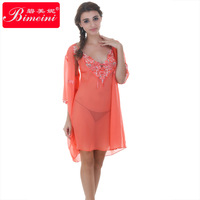 2014 Free shipping  High quality  hot sale sexy  Women's  silky elegant embroidery robe nightgown  set pajamas sleep140226-27