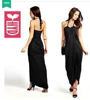 Drop ship 2014 export brand black Hang a neck backless maxi dress womens slim fit thin pleated long dress