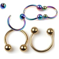14G 16G Rose Gold IP Horseshoe Circular Barbell Earring Lip Septum Nipple Ring