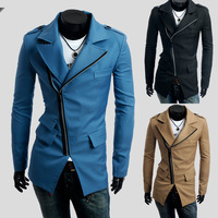 2014 Autumn winter fashion three pockets oblique zipper casual men trench coat three colors plus size m-xxl free shipping