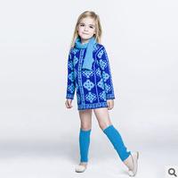 2014 new autunm  girls long dress kids blue dress girls fashion cashmere cloth
