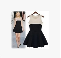 13-9888 New Autumn Women Sleeveless Dress O-Neck Color Stitching S M L Black Temperament Casual Dress