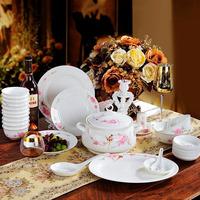 Bone China porcelain 56 piece of 1 set unique peach flower dinnerware set lusterware
