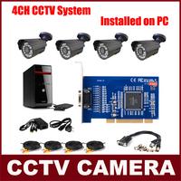CCTV System CCTV Camera Kit 4 CMOS 700TVL Cameras + 4CH Video Card Installed on PC Security System