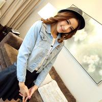 Good quality basic models lapel fashion jeans denim jacket