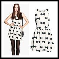 S-XXL women summer dress New Hot Fashion summer dress 2014 cozy casual elegant bow print plus size S-XL sweet party dress WA