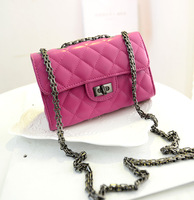 2014 woman leather handbag high quality women messenger bags plaid chain bag famous brand designer channelled shoulder bag