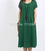 fashion Short Sleeve Cotton Linen Long Dress Size S M L XL XXL Green Orange Color