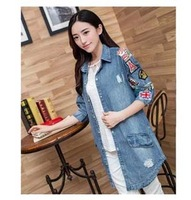 2014 Hitz Korean Yards Slim Lady In Cowboy Shirt Sleeve Denim Jacket  Coat Female Fashion Models Big Size  Fashion  Woman