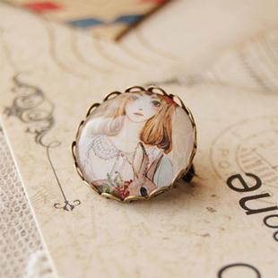 2pcs/lot Girl and Her Rabbit Brooch Pins Vintage Pins Handmade DIY Jewelry xz04(China (Mainland))