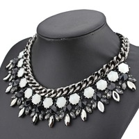 2014 new design high quality fashion brand jewelry necklace for women multi glass crystal chain bib statement necklace