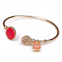 wholesale 2014 fashion pink stone crystals cuff bracelets bangles for women free shipping 140723