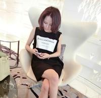 Printed letters show thin sleeveless long vest black girl T-shirt
