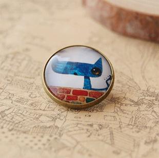 12pcs/lot Kawaii Blue Brooch Cat Wholesale Handmade Animal Brooches Christmas Brooches and Pins xz05(China (Mainland))