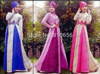 MU10019  Free Shipping  2014 Hot  Woman Fashion  Muslim Long Sleeve  Dresses  Abaya Thobe With Lace