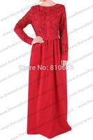 MU10019  Free Shipping  2014 Hot  Woman Fashion  Muslim Long Sleeve Evening Dresses  Abaya Thobe With Lace