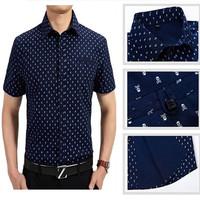 ropa hombre casual 2014 Summer mens dress shirts brand UV Breathable Cotton Skull print short-Sleeve Slim Fit camisa masculina