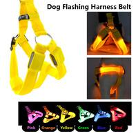 Free Shipping 10pcs/lot Dog Harness Belt, Dog Flashing Collar Vest, Nylon Material, Multi-colors and Length Adjustable.