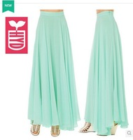 Factory direct New 2014 Brand High quality chiffon Pleated long Skirts,womens Ball Gown ankle skirts
