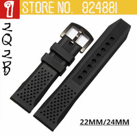 22/24mm NEW TOP Silica Gel Watchbands,Black Deployment Clasp,Waterproof Silicone+Durable+Swiming+Antiperspirant,Watch Strap 2132