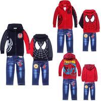 new fashion 2014 spiderman children clothing set,spider man kids clothes sets,spring autumn boys hoodies jacket jeans set