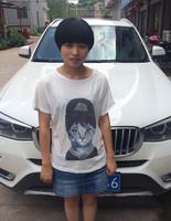 2014 Hot Retro Cool Punk T-shirt Women Top Fashion Tee Print Hepburn Cat Batwing Sleeve T shirt Free Shipping