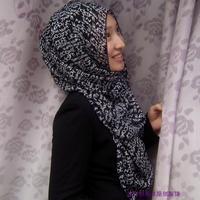 OUMEINA muslim headband scarf wholesale letter printed  on peach chiffon fabric hijab scarf RG14