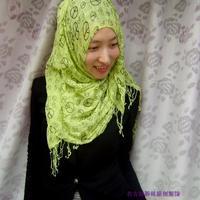 OUMEINA muslim lady head scarf wholesale and retale Clothing scarf hijab green fluid cotton fabric printed tudung bawal RG12