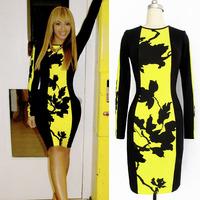 2014 New Long Sleeve Floral Printed Knee Length Women Bodycon Casual Dress vestidos de fiesta Tunic Party Pencil Dress