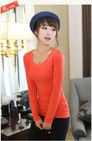 Free Shipping Slim O-neck Long T-shirt Fashion Trendy Modal Women Cotton Clothes Tops Tees T-shirt Bottoming shirt