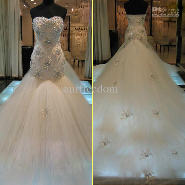 Atacado - New Custom Made vestidos de casamento de luxo namorada contas de cristal brilhante sereia catedral trem Tulle vestidos de noiva H(China (Mainland))