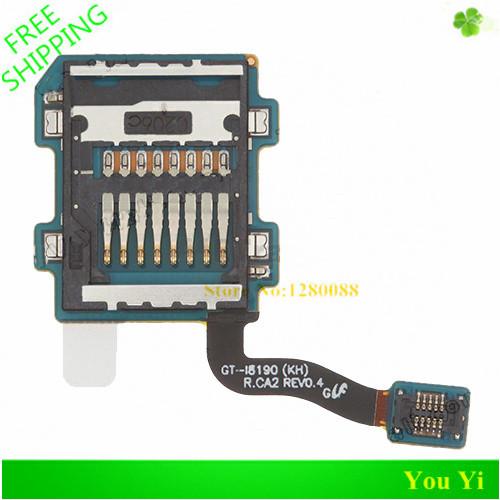 Free Shipping 100% Original SD Card Slot Holder Flex Cable for Samsung Galaxy S3 Mini I8190(China (Mainland))