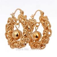 Free Shipping Womens18K Yellow Gold Plated Dragon Head Twist Rope Link Ball Huggie Hoop Earrings Fashion Jewelry Hot  Gift