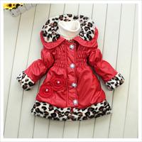 Winter Children's Outwear Children's Down Coat Long Style Leather Thicken Leopard Girl Parkas Coat Baby Kids Cotton-Coat GX821