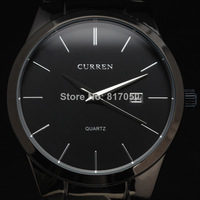 2014 new fashion high quality curren wristwatches luxury black genuine leahter men male classic wrist dress quartz watch 4178