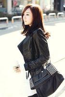 Hitz Korean Women Short Slim leather jacket motorcycle clothing PU leather jacket