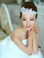 Handmade Lace Rhinestone Flower Wedding Hair Accessories Bridal Hair Jewelry Wedding Headband Free Shipping