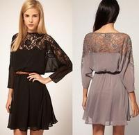 East knitting fashions Women Sexy lace batwing Chiffon Dress with Belt S/M/L Brand dress Plus Size free shipping