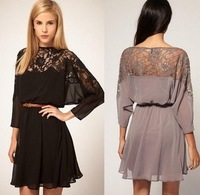 East knitting fashions Women Sexy lace batwing Chiffon Dress with Belt S/M/L Brand dress Plus Size free shipping LQ4657
