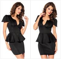 Elegant Sexy Short Sleeve Deep V-thin package hip nightclub dress lotus leaf swing dress freeshipping 3 colors M;L Size D126-1