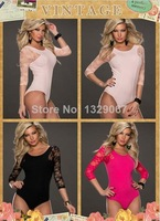 top quality free shipping drop shipping sexy lingerie hot Baby Pink Lace Sleeves Teddy Lingerie