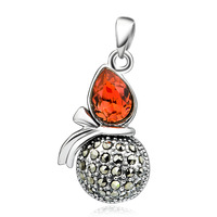 Wholesale GND0769-H Genuine 925 Sterling Silver Jewelry women 2014 Thai silver Vintage red Crystal Gourd Pendant For Necklace