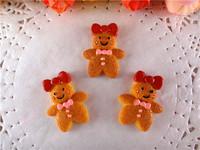 2014 kawaii christmas gingerbread man resins crafts flatback for hair bows hairbows flat back resins 50pcs/lot  WQ14062808