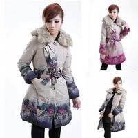 2014 Down Coat Women Winter Fashion New Brand Long Print Coat Rabbit Fur Collar Thicken Slim Down Jackets Free Shipping E1488
