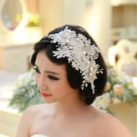 Handmade Lace Wedding Tiara Rhinestone Pearl Bridal Hair Accessories Crystal Wedding Headband Hair Jewelry Free Shipping