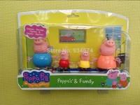 New 2014 Anime Peppa Pig Toys Dolls Daddy Mummy Pig George Pepa Pig Family Set 4pcs/lot with Retail Box, Kids Boy gifts