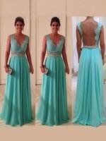 Free Shipping 2014 New Arrival Hot Chiffon Lace Applique Sheer Scoop Neckline Evening Dress Long Vestidos De Fiesta prom dress