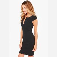 2014 Summer Woman Causal  Chiffon Dress Lady  Black Lace Fashion Skirt Sexy V-neck  Dress Free shipping