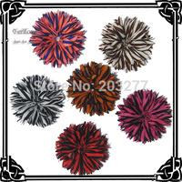 Free shipping!!24pcs/lot  DIY  6colors stripe fabric flower mix order